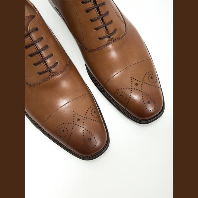 Kožené Oxford poltopánky so zdobením bata, hnedá, 826-3690 - 14