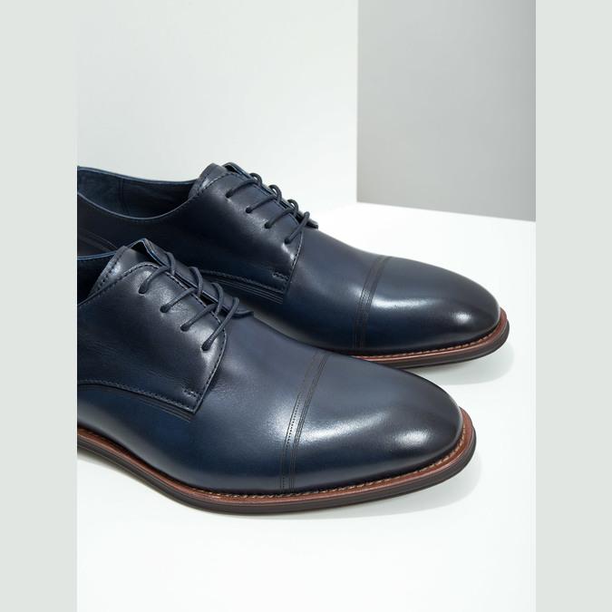 Ležérne  modré kožené poltopánky bata, modrá, 826-9681 - 14