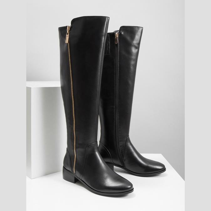 Kožené dámske čižmy so zipsom bata, čierna, 594-6653 - 18