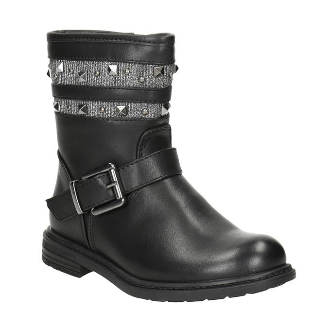 Dievčenské čižmy s cvočkami mini-b, čierna, 291-6398 - 13