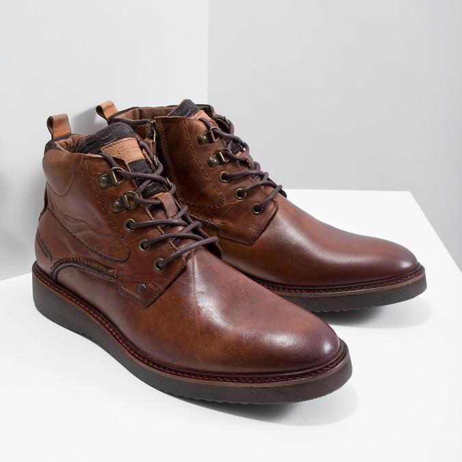 Kožená členková obuv bata, hnedá, 896-3675 - 18