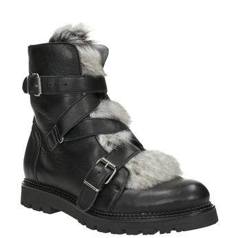 Kožená členková obuv s kožúškom bata, čierna, 594-6656 - 13