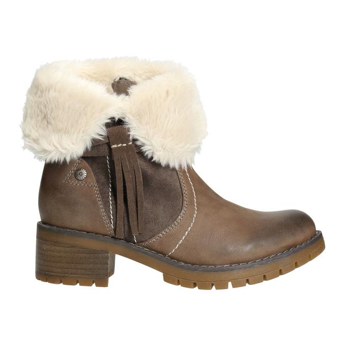 Členková obuv s kožúškom bata, hnedá, 691-2633 - 15