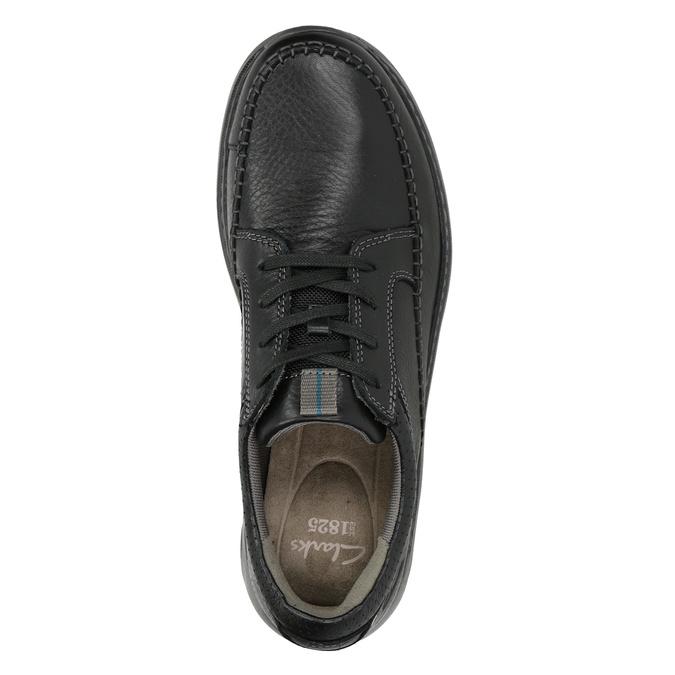 Pánske kožené poltopánky s prešitím clarks, čierna, 826-6024 - 15