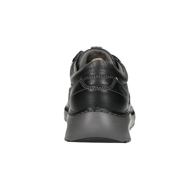 Pánske kožené poltopánky s prešitím clarks, čierna, 826-6024 - 16