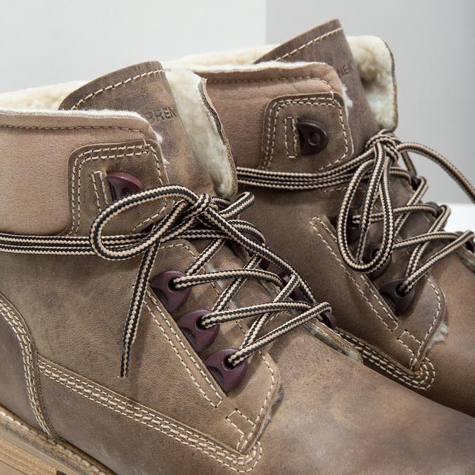 Kožená zimná obuv s kožúškom weinbrenner, hnedá, 594-2491 - 14