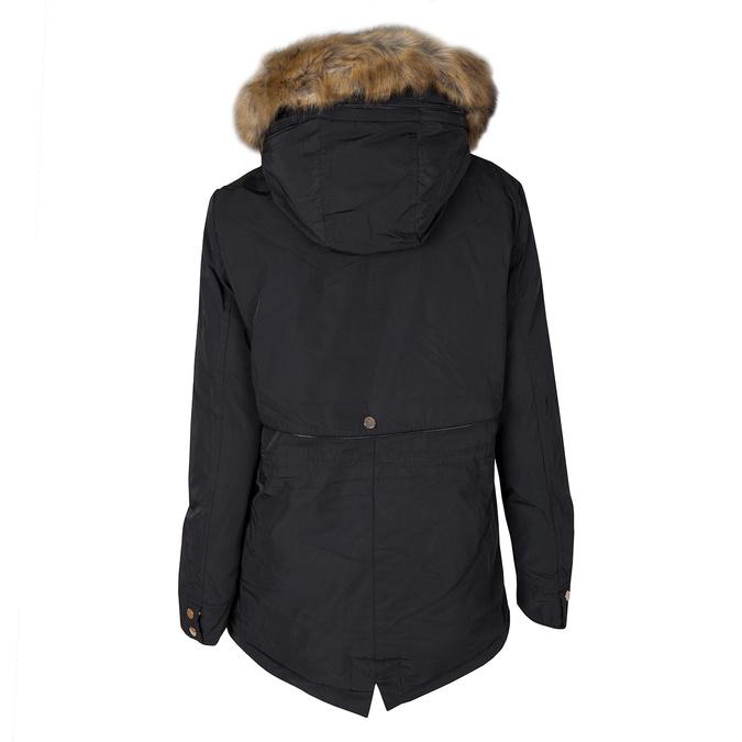 Dámska bunda s kožúškom bata, čierna, 979-6177 - 26