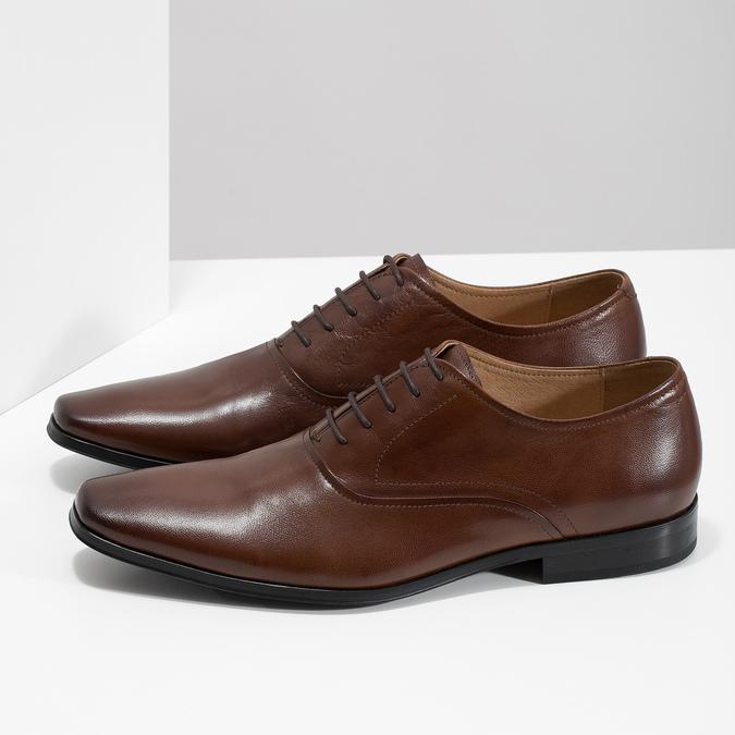 Hnedé kožené Oxford poltopánky bata, hnedá, 826-3808 - 16