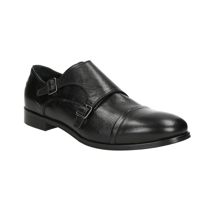 Čierne kožené Monk Shoes bata, čierna, 824-6730 - 13