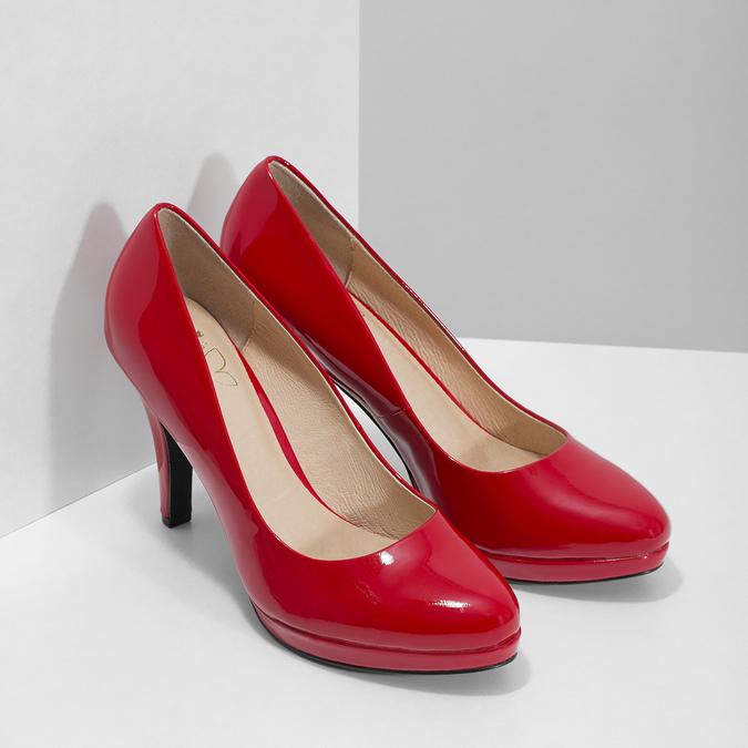 Červené lodičky z lakovanej kože insolia, červená, 728-5104 - 26