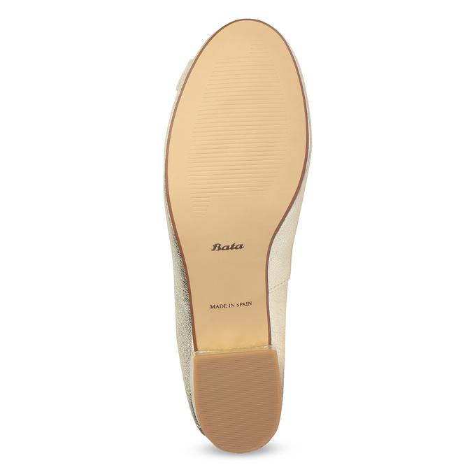 Kožené baleríny na nízkom podpätku bata, zlatá, 526-8420 - 18