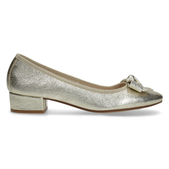 Kožené baleríny na nízkom podpätku bata, zlatá, 526-8420 - 19