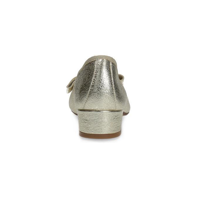 Kožené baleríny na nízkom podpätku bata, zlatá, 526-8420 - 15