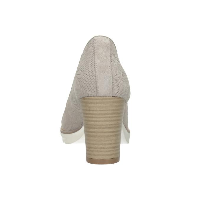 Dámske kožené lodičky s reliéfom pillow-padding, béžová, 726-2650 - 16