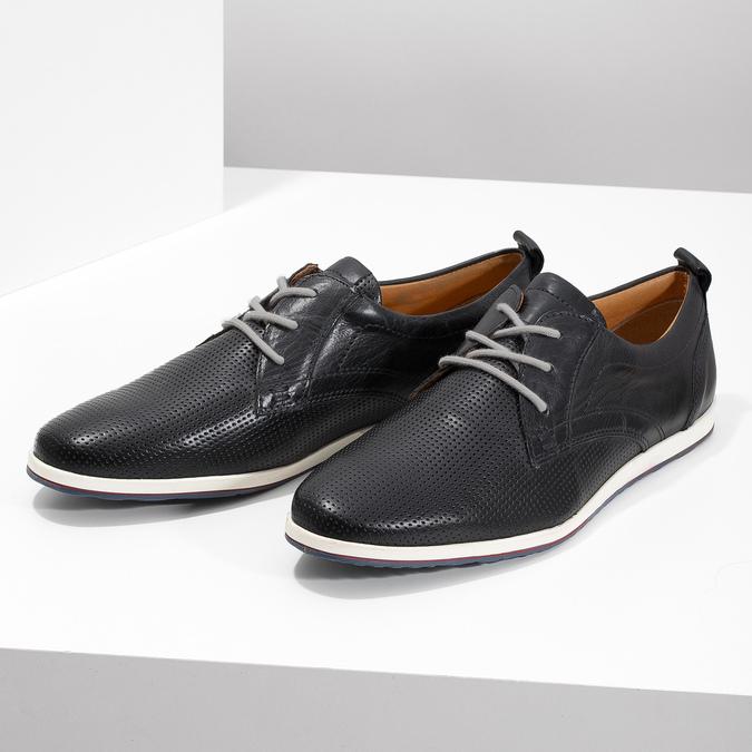 Ležérne kožené poltopánky bata, čierna, modrá, 824-9124 - 16