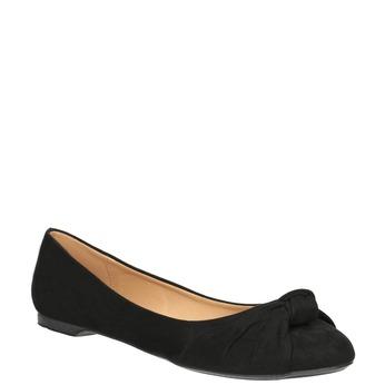 Dámske baleríny s mašľou bata, čierna, 529-6637 - 13