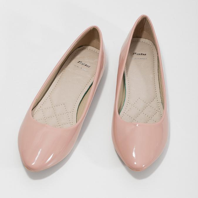 Lakované dámske baleríny bata, ružová, 521-5602 - 16