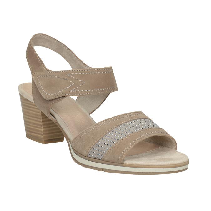 Kožené sandále šírky H s kamienkami bata, béžová, 666-8616 - 13