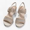 Kožené sandále šírky H s kamienkami bata, béžová, 666-8616 - 16
