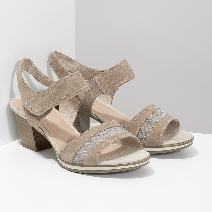 Kožené sandále šírky H s kamienkami bata, béžová, 666-8616 - 26