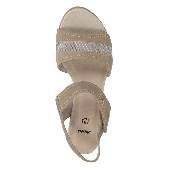 Kožené sandále šírky H s kamienkami bata, béžová, 666-8616 - 15