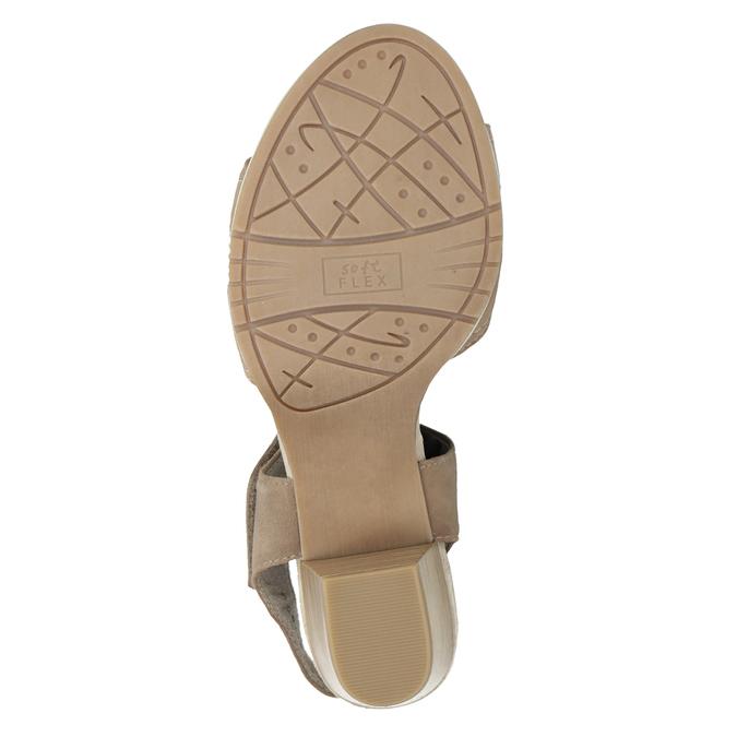 Kožené sandále šírky H s kamienkami bata, béžová, 666-8616 - 17