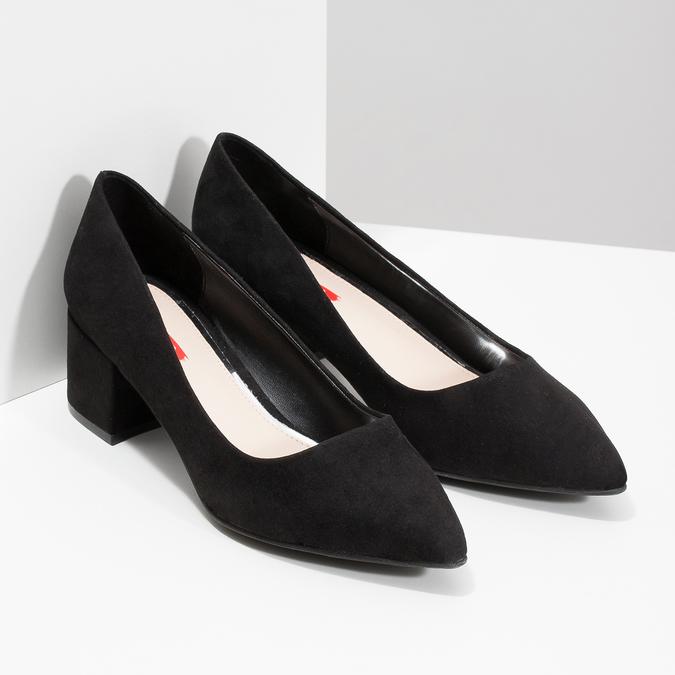 Čierne lodičky na nízkom podpätku bata-red-label, čierna, 629-6640 - 26