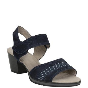 Modré kožené sandále šírky H bata, modrá, 666-9616 - 13