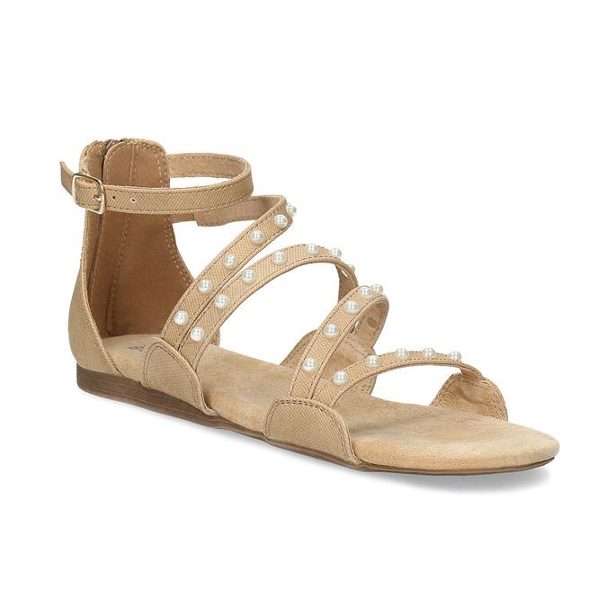 Dievčenské sandále s perličkami bullboxer, béžová, 361-8609 - 13