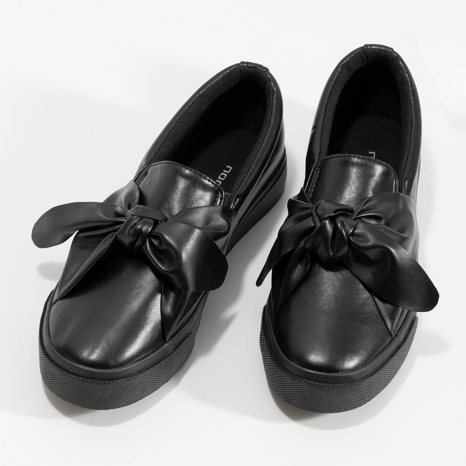 Čierna dámska Slip-on obuv s mašľou north-star, čierna, 511-6606 - 16