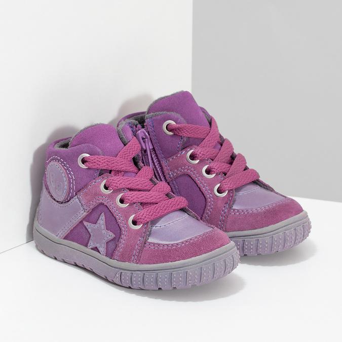 Dievčenská členková kožená obuv bubblegummers, ružová, 123-5601 - 26
