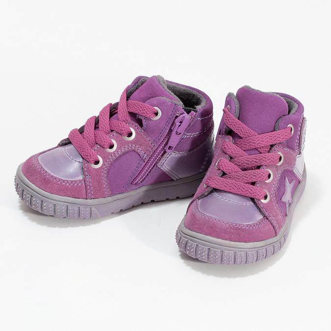 Dievčenská členková kožená obuv bubblegummers, ružová, 123-5601 - 16