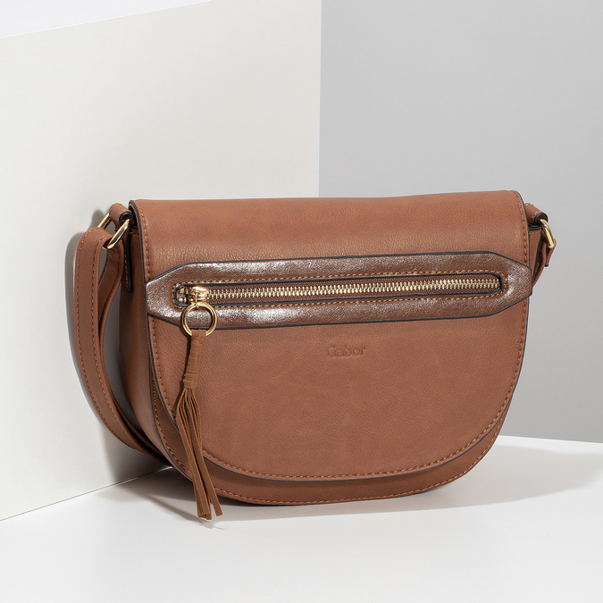 Hnedá crossbody kabelka so strapcom gabor-bags, hnedá, 961-3019 - 17